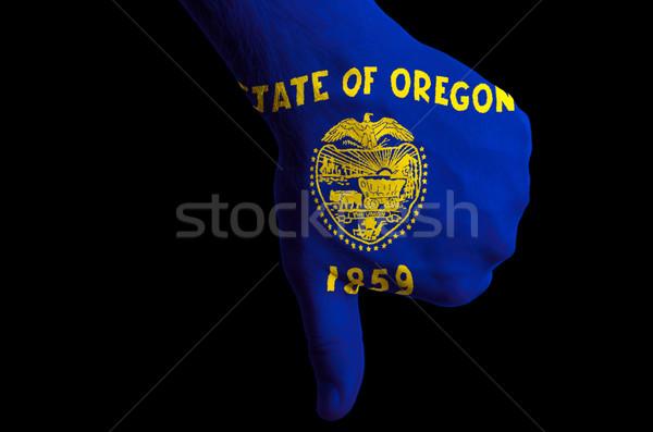 Oregon bayrak başparmak aşağı jest başarısızlık Stok fotoğraf © vepar5