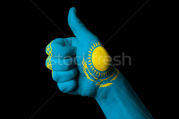 kazakhstan national flag thumb up gesture for excellence and ach Stock photo © vepar5