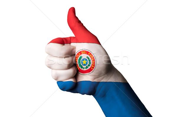 Paraguay bandera pulgar hasta gesto excelencia Foto stock © vepar5