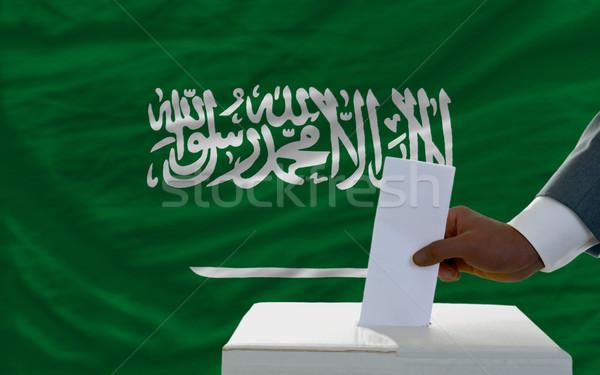 Adam seçimler bayrak suudi oylama Stok fotoğraf © vepar5