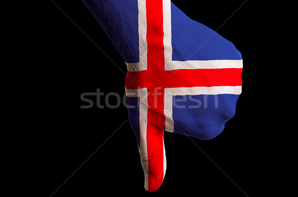 iceland national flag thumbs down gesture for failure made with  Stock photo © vepar5
