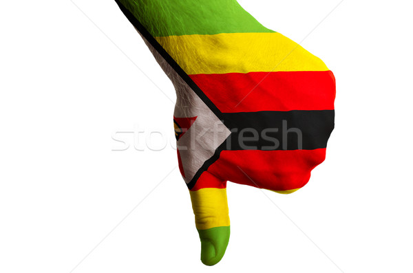 zimbabwe national flag thumbs down gesture for failure made with Stock photo © vepar5