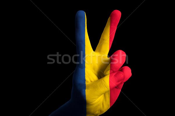 ルーマニア フラグ 2 指 アップ ジェスチャー ストックフォト © vepar5