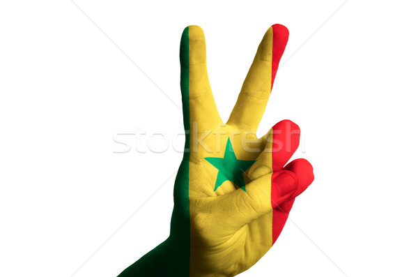 senegal national flag two finger up gesture for victory and winn Stock photo © vepar5