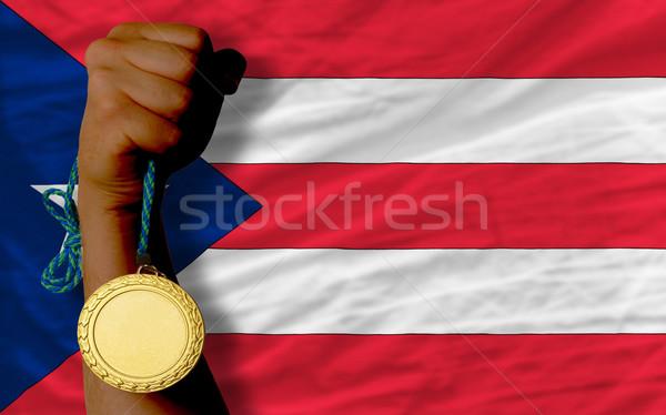 Médaille d'or sport pavillon gagnant sport Photo stock © vepar5