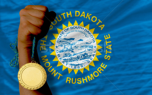 Aranyérem sport zászló Dél-Dakota nyertes tart Stock fotó © vepar5