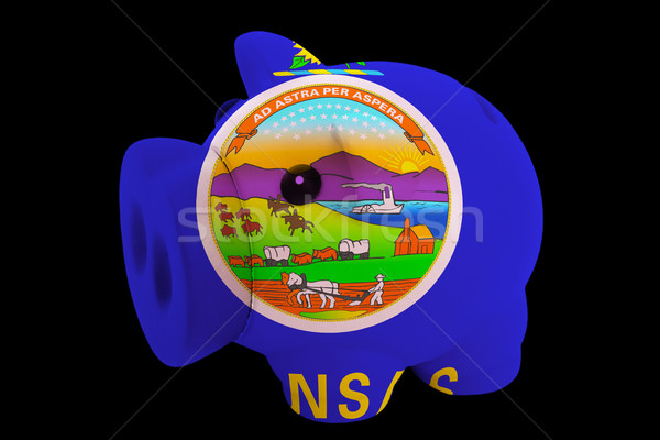 piggy rich bank in colors flag of american state of kansas   for Stock photo © vepar5