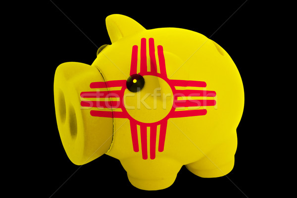 piggy rich bank in colors flag of american state of new mexico   Stock photo © vepar5