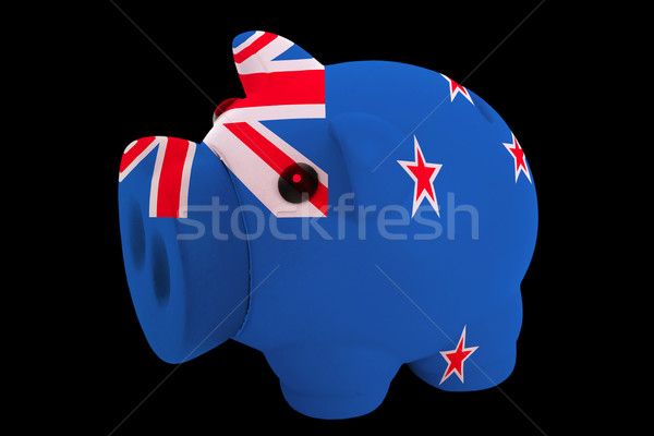 piggy rich bank in colors national flag of new zealand   for sav Stock photo © vepar5