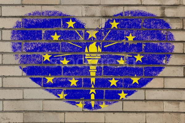 heart shape flag of indiana on brick wall Stock photo © vepar5
