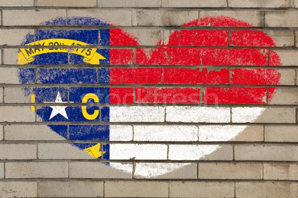 heart shape flag of north carolina on brick wall Stock photo © vepar5