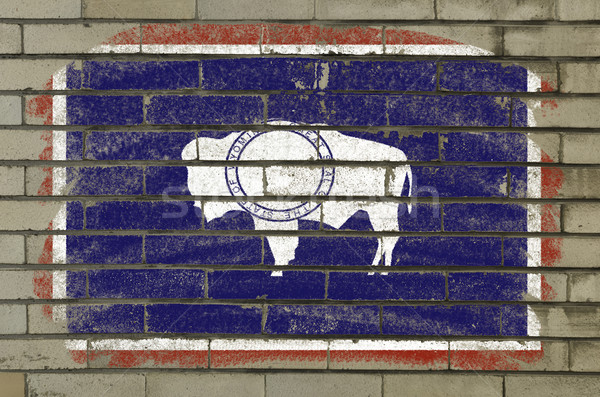 flag of US state of wyoming on brick wall painted with chalk Stock photo © vepar5
