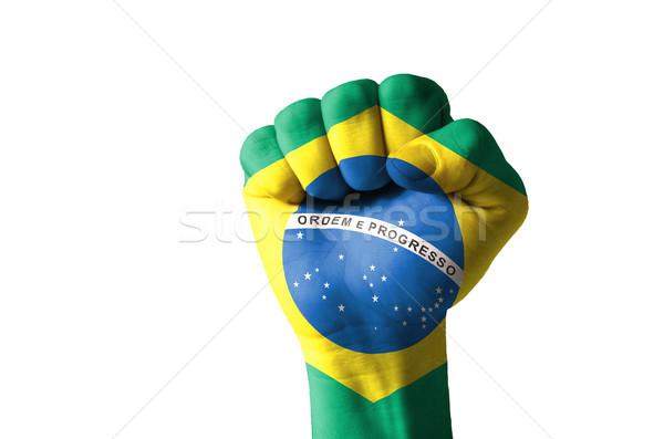 ököl festett színek Brazília zászló alacsony Stock fotó © vepar5
