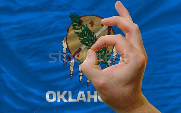 вызывать жест Оклахома флаг человека Сток-фото © vepar5