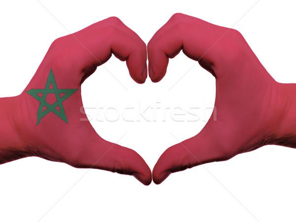 Szív szeretet kézmozdulat Marokkó zászló színek Stock fotó © vepar5