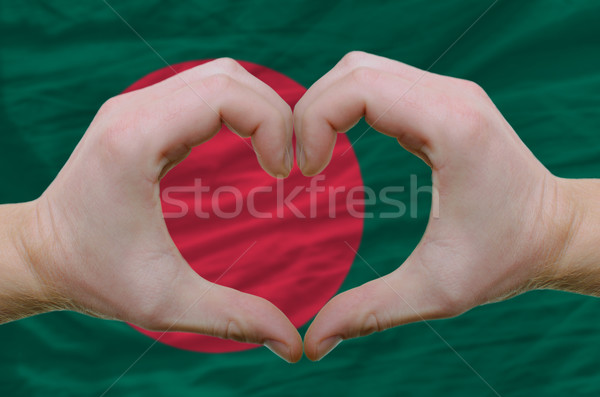 Heart and love gesture showed by hands over flag of bamgladesh b Stock photo © vepar5