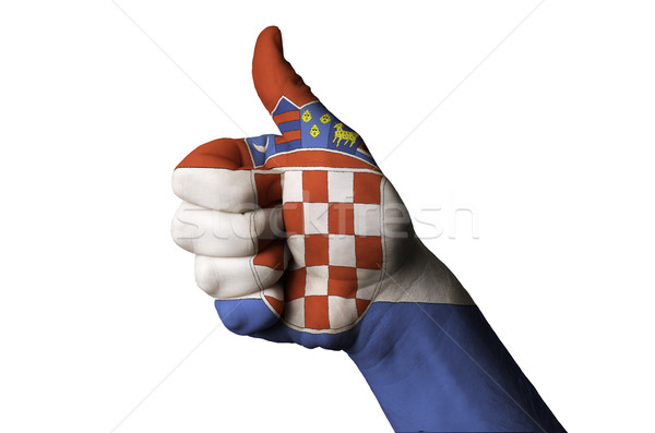 croatia national flag thumb up gesture for excellence and achiev Stock photo © vepar5