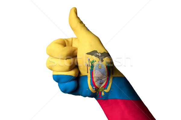 Ecuador zászló hüvelykujj felfelé kézmozdulat kiválóság Stock fotó © vepar5