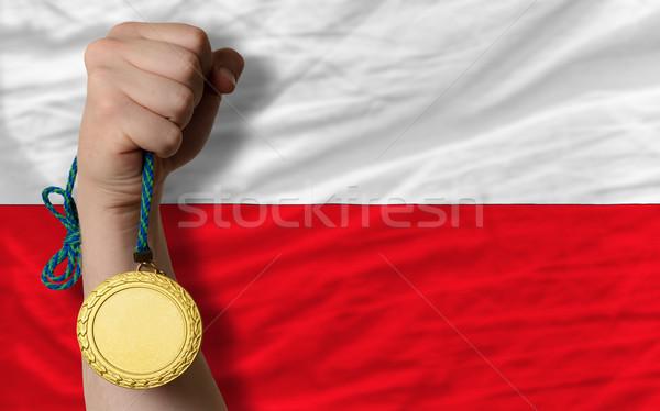 Aranyérem sport zászló Lengyelország nyertes tart Stock fotó © vepar5