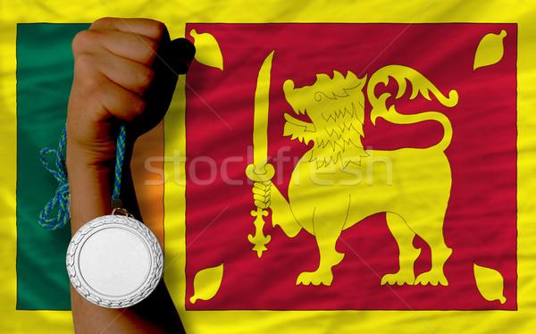 Silver medal for sport and  national flag of srilanka    Stock photo © vepar5