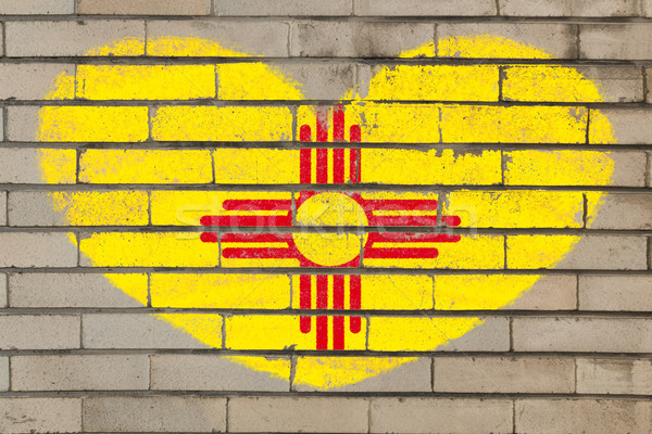heart shape flag of new mexico on brick wall Stock photo © vepar5