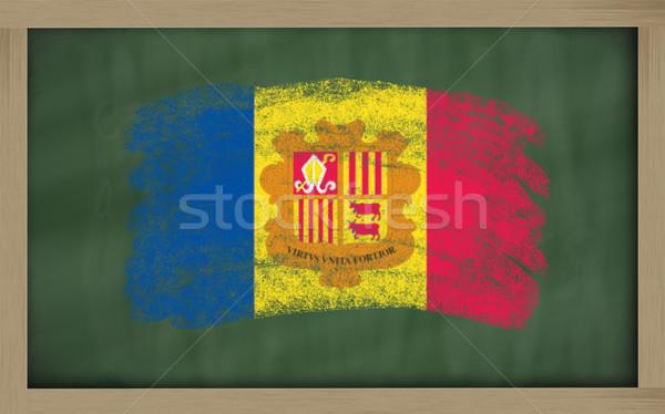 Flagge Andorra Tafel gemalt Kreide Farbe Stock foto © vepar5