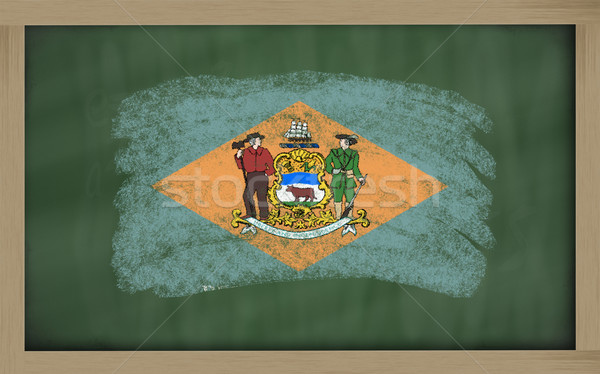 flag of us state of delaware on blackboard painted with chalk Stock photo © vepar5