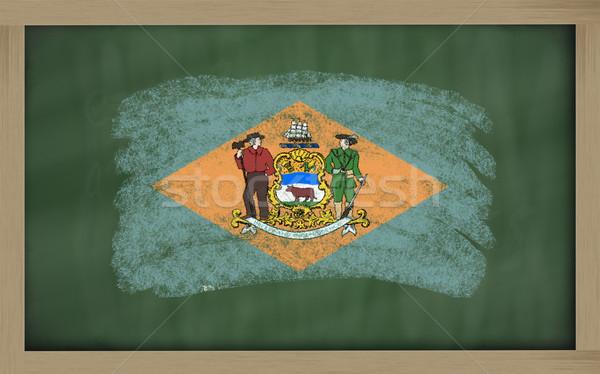 Vlag Delaware Blackboard geschilderd krijt amerikaanse Stockfoto © vepar5