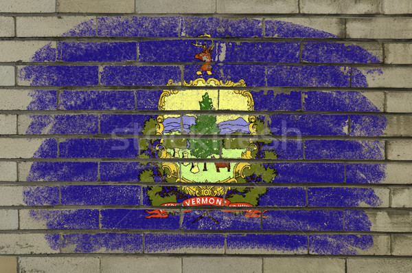 Grunge bandeira Vermont parede de tijolos pintado americano Foto stock © vepar5