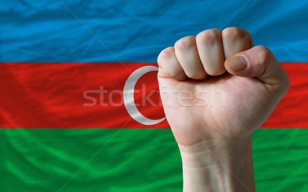 Vuist Azerbeidzjan vlag macht compleet geheel Stockfoto © vepar5