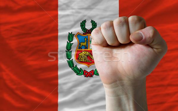 Vuist Peru vlag macht compleet geheel Stockfoto © vepar5