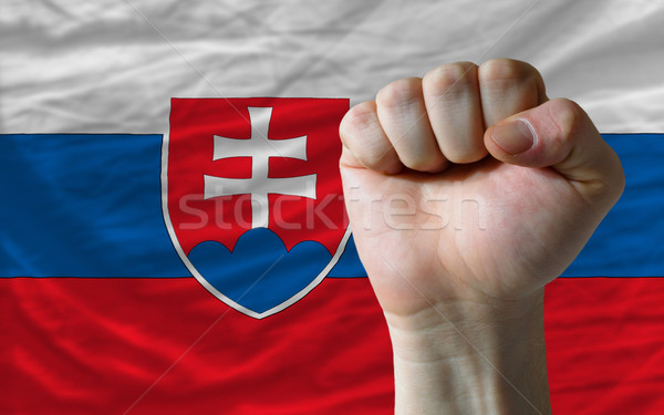 Hard fist in front of slovakia flag symbolizing power Stock photo © vepar5