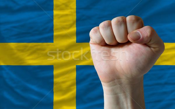Hard fist in front of sweden flag symbolizing power Stock photo © vepar5