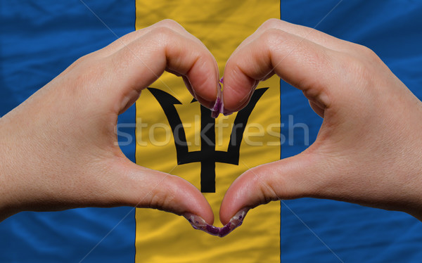 over national flag of barbados showed heart and love gesture mad Stock photo © vepar5