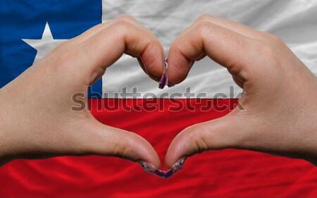 Hart liefde gebaar handen vlag Letland Stockfoto © vepar5