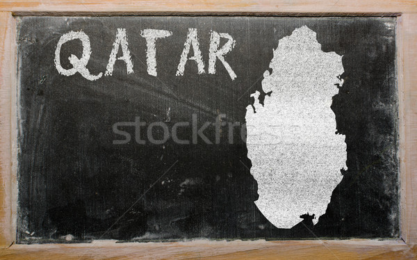 Carte Qatar tableau noir dessin Photo stock © vepar5