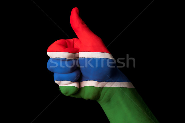 gambia national flag thumb up gesture for excellence and achieve Stock photo © vepar5