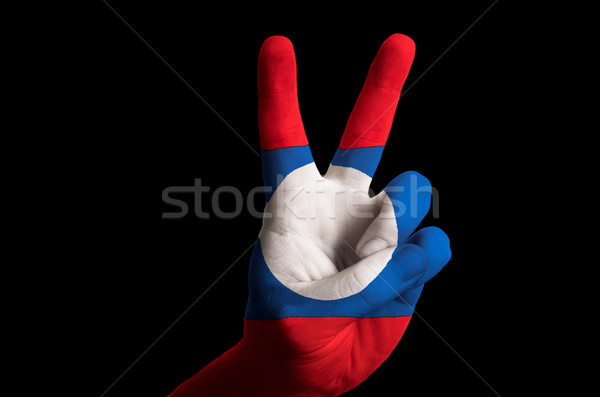 laos national flag two finger up gesture for victory and winner  Stock photo © vepar5