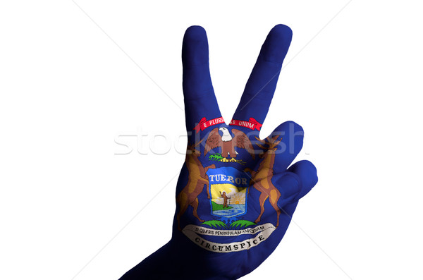michigan us state flag two finger up gesture for victory and win Stock photo © vepar5
