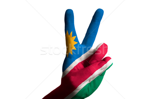 namibia national flag two finger up gesture for victory and winn Stock photo © vepar5