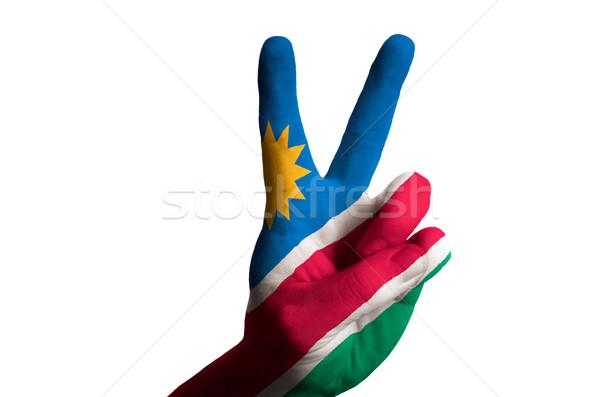 Namibia bandera dos dedo hasta gesto Foto stock © vepar5
