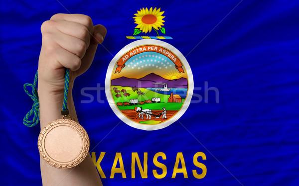 Bronze medal for sport and  flag of american state of kansas    Stock photo © vepar5