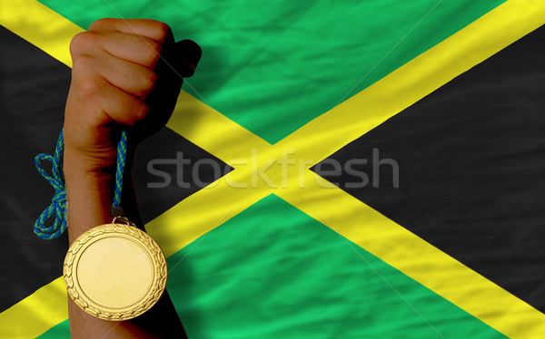 Gold medal for sport and  national flag of jamaica    Stock photo © vepar5