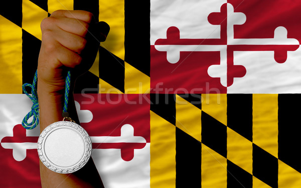 Silver medal for sport and  flag of american state of maryland   Stock photo © vepar5