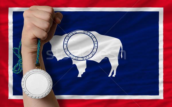 Plata medalla deporte bandera americano Wyoming Foto stock © vepar5