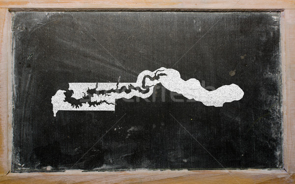 Stock photo: outline map of gambia on blackboard