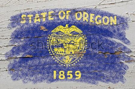 флаг Орегон доске окрашенный мелом американский Сток-фото © vepar5