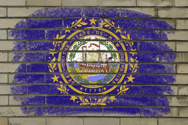 Grunge bayrak New Hampshire tuğla duvar boyalı amerikan Stok fotoğraf © vepar5