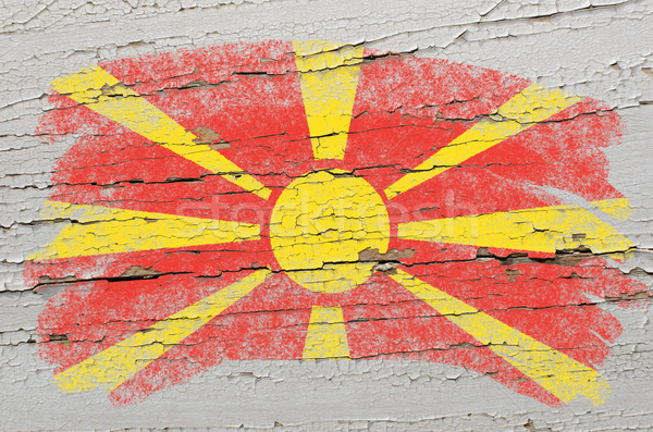 Stock photo: flag of macedonia on grunge wooden texture painted with chalk