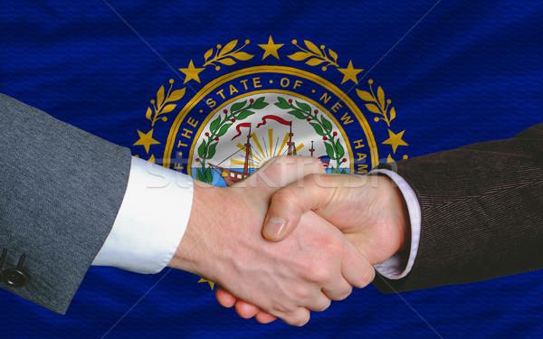 Americano bandera New Hampshire dos empresarios apretón de manos Foto stock © vepar5